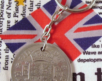 1957 Half Crown Coin Keyring Key Chain Fob