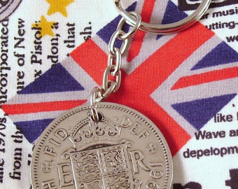 1961 Half Crown Coin Keyring Key Chain Fob