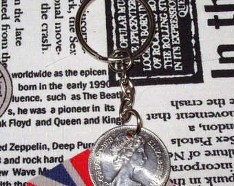 1978 British Old Large Five Pence Coin Keyring Key Chain Fob Queen Elizabeth II