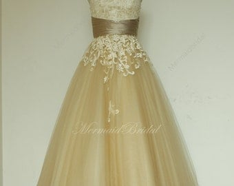 Champange tea lenghth lace wedding dress,destination, outdoor wedding dress,Elopement Dress
