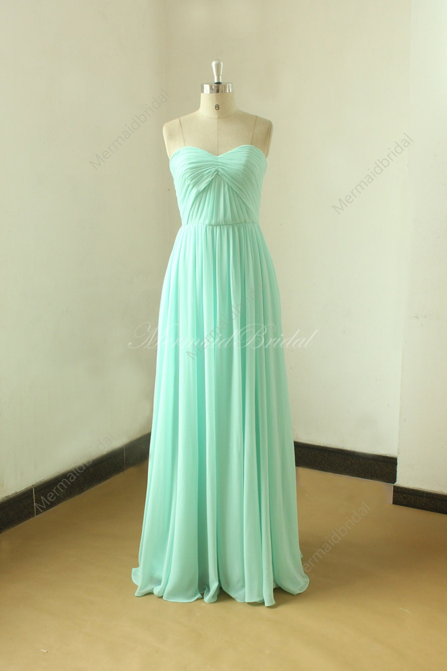 Blue Wedding Dress Simple : Simple strapless mint blue bridesmaid dress prom by mermaidbridal
