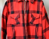 Vtg. 40s 50s DUBBLE WARE Red/Black Buffalo Plaid Zip Front Hunting Jacket Game Pocket Chamois Lined Size L/XL