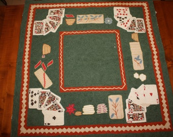 """Poker Theme Table Cover - OOAK - Hand Woven Wool - Made in Kashmir India - Table Cover / Embroidered Tapestry - 36"""" x 37"""""""