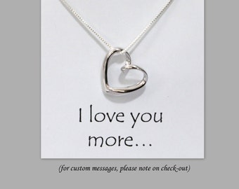 Sterling Silver Heart Necklace, Sterling Silver Heart Pendant on Fine Sterling Silver Necklace Chain