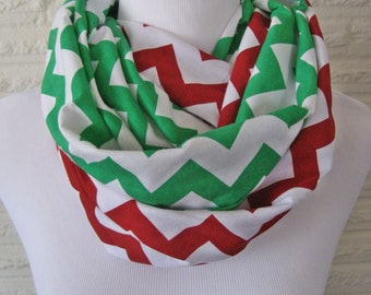 2 pack lot - 1 each Red and Green Chevron MEDIUM length jersey knit Infinity Scarves - Youth holiday Christmas scarves