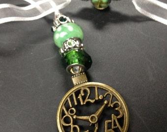 Ribbon beaded Bookmark--clock