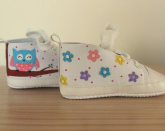 Owl and flowers infant sized canvas sneakers - Handpainted baby shoes (Ready to ship in SIZE 13) | Baby shower gift