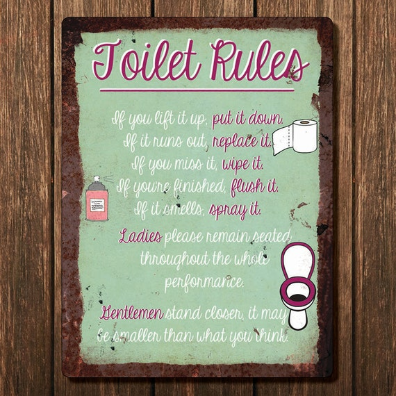 Vintage Metal Wall Sign Toilet Rules Rules00008