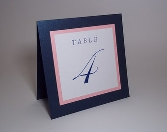 Shimmer Navy Blue, Pink and White Tent Table Number Cards - 5x5 size - Wedding, Dinner, Party