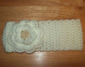 Crochet Headband Ear Warmer, Soft White, with Removable  Flower. Teen to Adult Size.