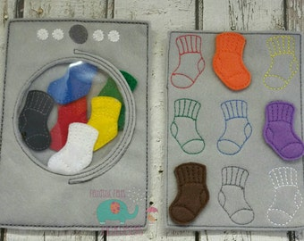 Sock color matching game embroidered, educational, montessori, memory, matching, learning, color game, laundry game, toy.