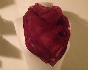 Marsala plaid peekaboo pattern scarf