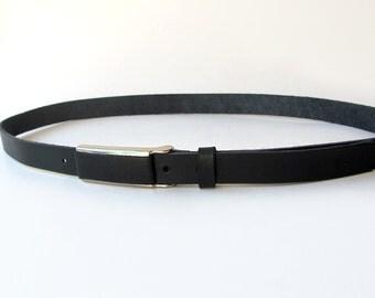 Black leather belt, Classic Skinny belt, Narrow belt, ALL SIZES