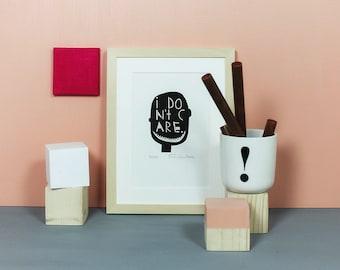 I Don't Care | Linoldruck, Illustration, Linolschnitt, Druckgrafik, Kunst, Druck, Print, illustrativ, Kopf, egal, Grafik, Bild, Typo, A5