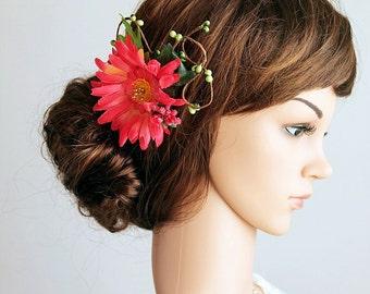 Hot PInk Hair Comb, Gerbera Wedding Comb, Flower Hair Comb, Bridal Flower Comb, Woodland Head Piece, Boho Bridal Comb, Bridesmaid Hair Comb