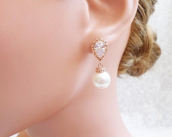 FREE US Shipping Rose Gold Pearl And Cubic Zirconia Bridal Earrings Rose Gold Bridal Jewelry Pink Gold Pearl And CZ Bridal Earrings