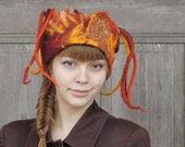 Unique fancy felted hat with dreadlocks, orange, brown, maroon and yellow , decorated with silk fabric,  OOAK