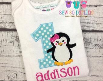 Baby girl penguin birthday Outfit - Birthday penguin Shirt - Penguin Birthday outfit - Baby Girl Penguin Birthday - Girl Winter Birthday