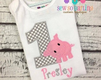 Baby Girl 1st Birthday Pig Outfit - 1st Birthday Piggy Birthday Shirt - Pig Birthday Outfit