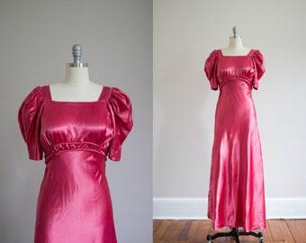 1930's Rose Satin Bias cut Gown / Art Deco / Formal / Size S/M