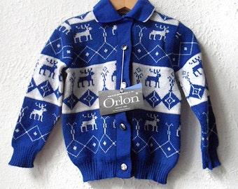 Oh Deer, Oh Deer - 1960's Reindeer Orlon Knit Cardigan - Age 2 to 3