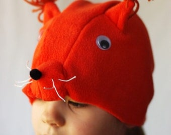 Squirrel costume hat, squirrel fleece hat, kids dress up hat, kids costume hat, squirrel Ear Hat, animal costume, pretend play, kids