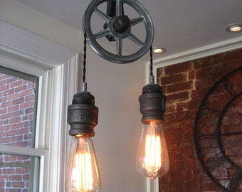 Pulley Light - Metal Light -  Steampunk Ceiling Light- Industrial Lighting - Fixture - Chandeliers - bar light - brewery light - loft light