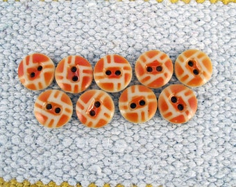 Vintage Glass Buttons Geometric Orange and White, 1920's Art Deco