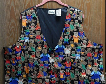 Basic Editions Plus 24W Womens Black Vest with Teddy Bears