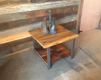 Reclaimed Wood End Table with Shelf / Industrial Steel Legs