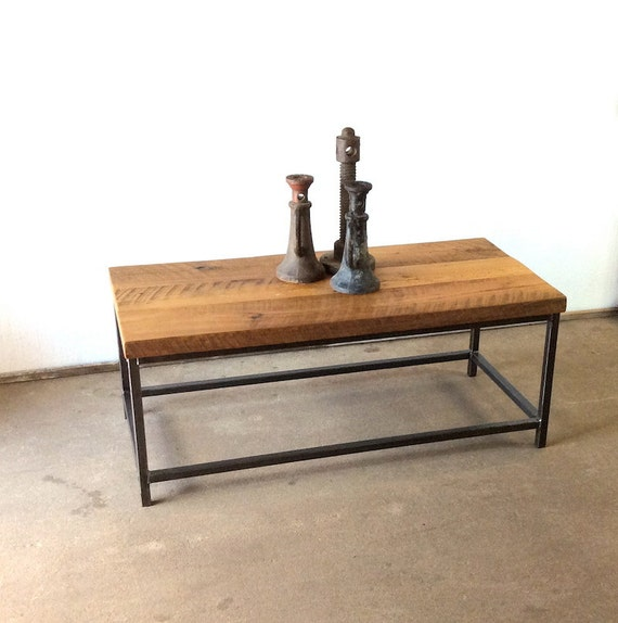 Reclaimed Wood And Metal Coffee Table: Stoic Reclaimed Wood Coffee Table / Industrial Metal Frame