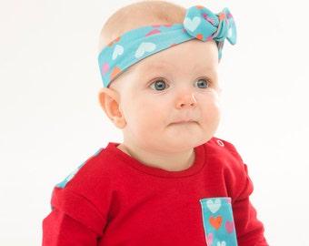 Organic baby headband, Teal Heart, HB159