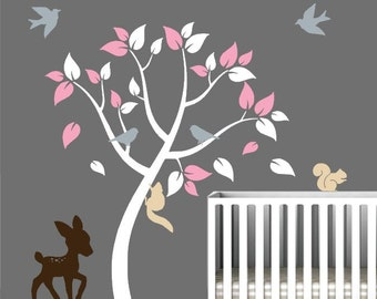Nursery Wall Decal with Cute Forest Animals