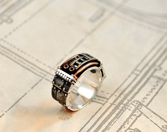 "Silver Steampunk Industrial Ring ""Sustentorum"""