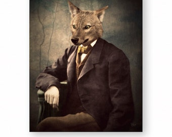 "Animal Art Print, Jackal, Coyote, Anthropomorphic, Digital Collage, Surreal Art, Vintage Photography, (3 Sizes Available) ""Jack"""