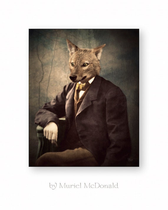 animaux art print chacal coyote anthropomorphe collage. Black Bedroom Furniture Sets. Home Design Ideas