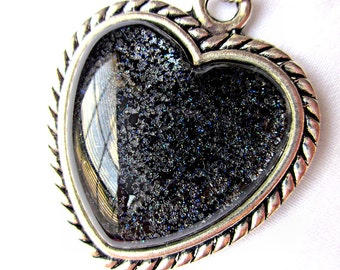 Black Heart Necklace; Hand Painted Glass Heart Pendant Necklace; Silver Heart Pendant; Handmade Nail Polish Jewelry; Black Heart Jewelry