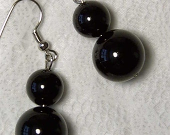 "Cynthia Lynn ""SIMPLE ELEGANCE"" Chunky 14mm & 12mm Black Agate Beaded Earrings 1.75"""