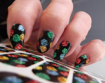 Casino nail art etsy 18 dice nail art decal wraps tiny colorful pattern on black dce gaming nails prinsesfo Gallery