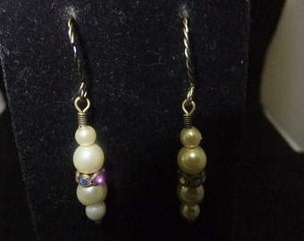 Ivory Pearl & Crystal Earrings