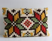 Vintage Embroidered Pillow, Swedish Cross Stiched Pillow, Vintage Decorative Pillow, Handmade Cushion Pillow, Scandinavian Home Decor