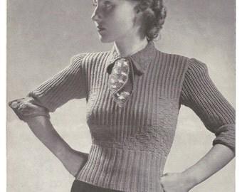 1930s Knitting Pattern for Womens Jumper / Pullover - 35 in bust 90 cm  - Digital PDF