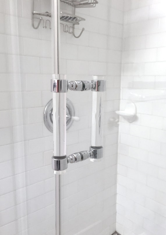 Lucite Shower Door Pull Handles Pair Chrome Or By Luxholdups
