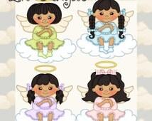 Lil Angels Black Hair - Digital Clipart Graphics Images