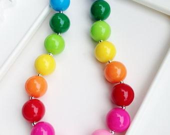 Rainbow Chunky Necklace, Rainbow gumball beads, Rainbow bubblegum necklace, girls rainbow necklace, Chunky rainbow necklace
