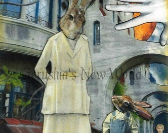 Mission Accomplished - Watercolor Collage Print, Mixed Media, Anthropomorphic, Rabbits