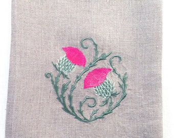 Embroidered Thistle Tea Towel, Guest Towel or hand towel on natural linen.  Hostess Gift.  Holiday Gift.