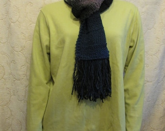 Dark Striped Wool Scarf, Hand Knit, Long and Wrappable