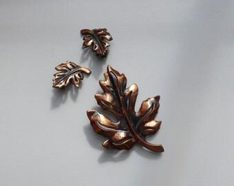 1970s Copper Maple Leaf Demi Parure