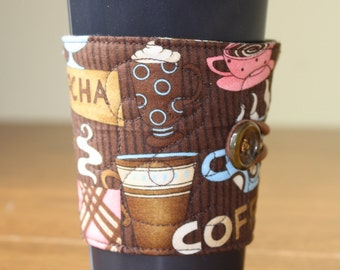 Reusable Coffee Sleeve in Quilted Coffee Fabric